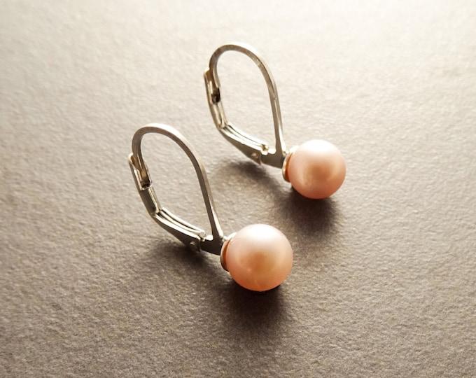 Pink Pearl Earrings, Sterling Silver, Lever Back Earrings, GENUINE 6 mm Pink Shell Balls, Minimalist, Pearl Jewelry