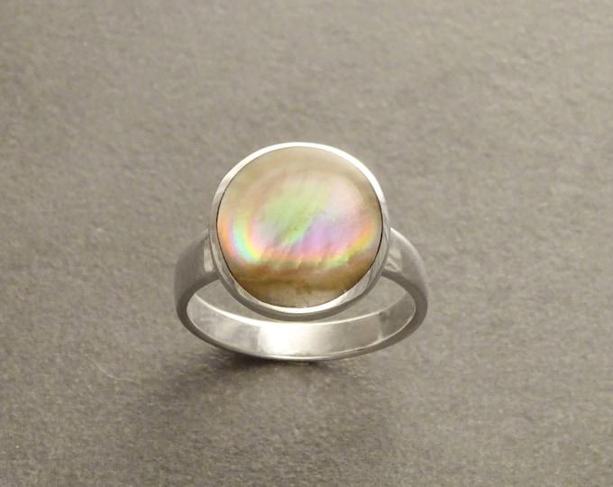 Brown Stone Ring, Sterling Silver, Genuine Copper Paua Shell Pearl, Modern Minimalist Geometric Round Stone Ring