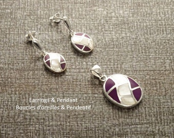 Purple Earrings Set, Sterling Silver, Modern Oval Geometric Design Mosaic Jewelry, White Mother of Pearl Shell, Violet Stones, Wave Pattern