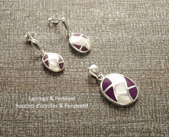 MOP Set - Sterling Silver 925 - Oval Mosaic - Earrings and Pendant Set - White Mother of Pearl, Wave Pattern, Inlay Jewelry, Purple, MOP.
