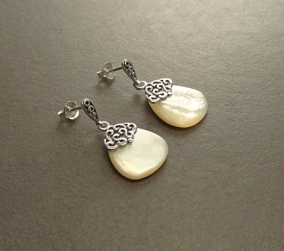 MOP Silver Earrings - Sterling Silver - Mother of Pearl - Dangle Earrings - Filigree Earrings - shabby  chic earrings - Post Earrings