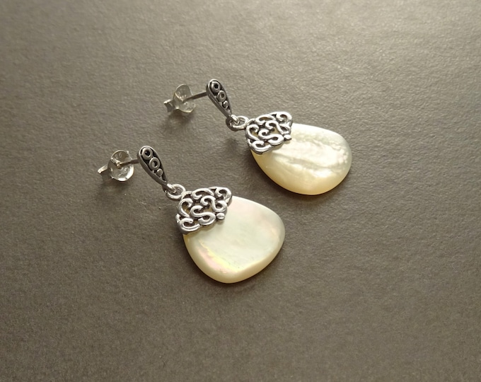 MOP Silver Earrings - Sterling Silver - Mother of Pearl - Dangle Earrings - Filigree Earrings - shabby  chic earrings - Post Earrings