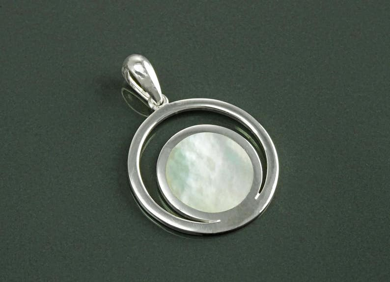 Moon Pendant Sterling Silver White Mother of Pearl Shell image 0