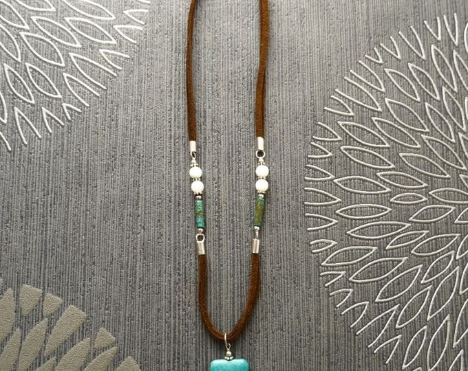 Turquoise Necklace, Sterling silver Parts, Brown Leather, Shell Pearls, Turquoise Pendant Necklace, Turquoise Stones Jewelry, Original Gift