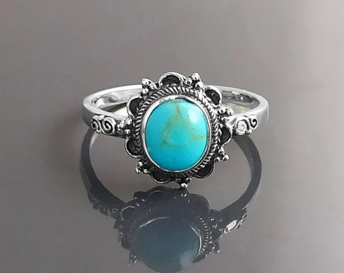 Turquoise Ring, Sterling Silver, Boho Ring, Blue Turquoise Stone Ring, Small Midi Oval Ring, Dainty Jewelry, Victorian Antique Ring