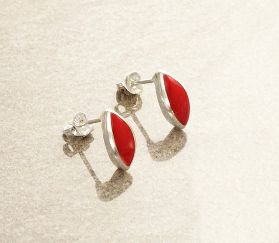 Red Minimalist Earrings - Sterling Silver Earrings, Red Stud Earrings, Almond Shape, Bright Red Earrings, Dainty Earrings, Red Gemstone