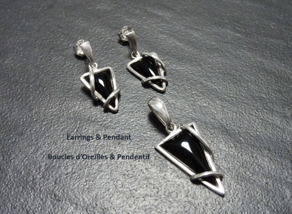 Women, Jewelry, Onyx Silver Set - Triangle - 925, Sterling Silver - Black - Modern Style - Earrings and Pendant Set, Gothic, Set, Paypal