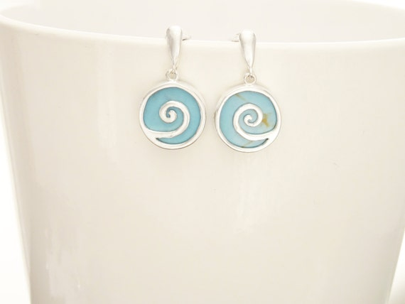 Turquoise Earrings - Blue -Dangle Earrings - Sterling Silver Earrings - Spiral - Blue Earrings - Blue Turquoise - Vintage Style Jewelry.