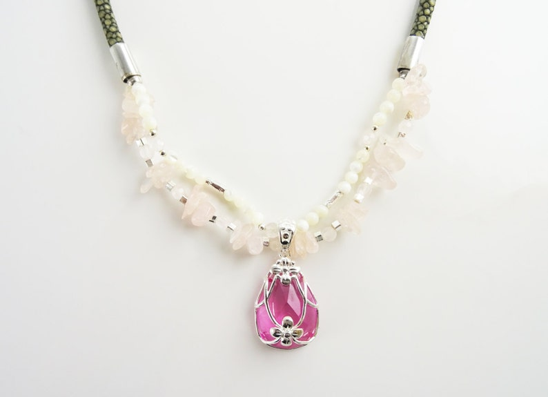 Pink Necklace  Sterling Silver Rose Quartz Raw Stone  image 0