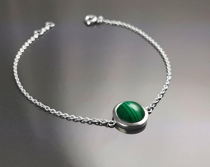 Green Round Bracelet, Sterling Silver, Green Stone Bracelet, Genuine Malachite Gemstone Birthstone Jewelry, Modern Minimalist Style Gift