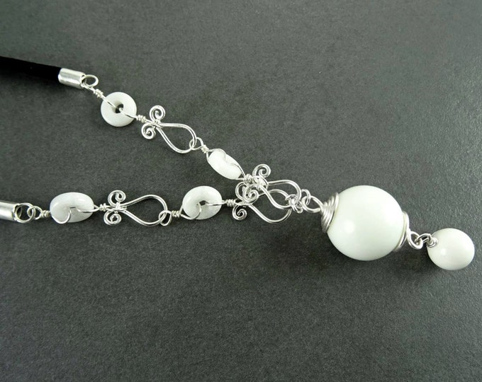 White Ball Necklace, Sterling Silver, White Agate Round Stones, Gemstone Balls and Discs, Black Leather Necklace, Vintage Boho Jewelry Gift
