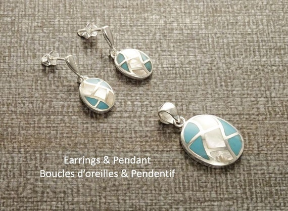 Sterling Silver Set - White Mother of Pearl and Turquoise - Oval Mosaic - Wave Pattern -  Inlay - Shell Jewelry - White and Blue. Boho style