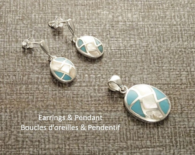 Turquoise Oval Earrings, Sterling Silver, Bicolor Blue Turquoise Stones and White Mother of Pearl Shell, Modern Geometric Stone Jewelry Set