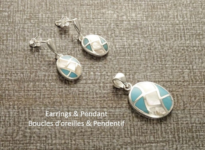 Turquoise Oval Earrings Sterling Silver Bicolor Blue image 0