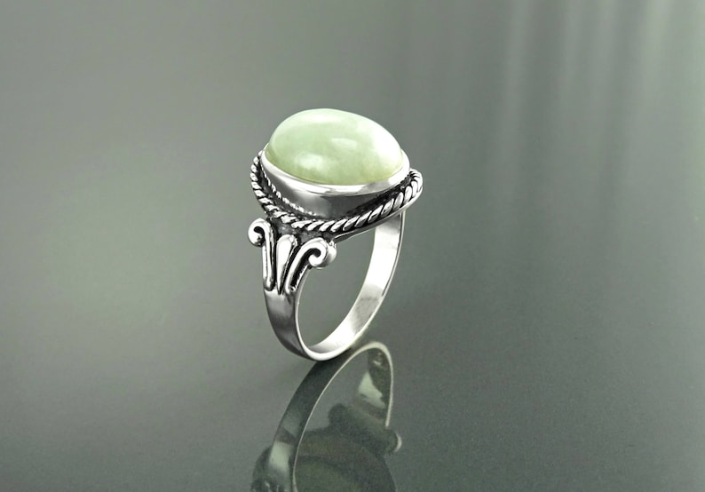 NATURAL Jade Ring Sterling Silver GENUINE JADE Gemstone image 0