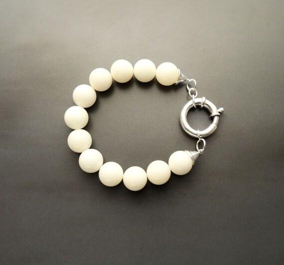 Casual Gemstone Bracelet - White Agate Beaded Bracelet - 10mm balls - Sterling Silver Spring Ring Clasp - White Gemstone Beaded Bracelet