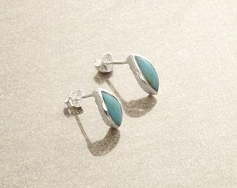 Turquoise  Earrings, Sterling Silver, Turquoise Stone Jewelry, Almond Shape, Minimalist Stud Earrings, Blue Earrings, Dainty Earrings