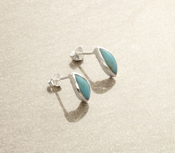 Turquoise Stud Earrings, Sterling Silver Earrings, Turquoise Jewelry, Almond Shape, Minimalist Earrings, Blue Earrings, Dainty Earrings