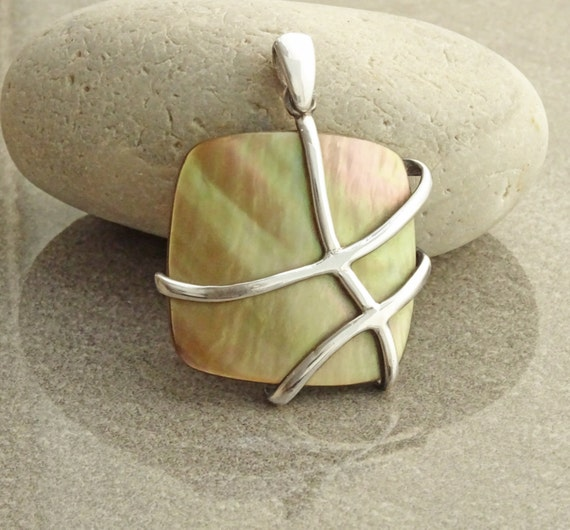 GENUINE Brown Paua Shell Statement Pendant, Sterling Silver, Square Shape, Pearl Iridescent Rainbow Highlights, Geometric Filigree Pattern