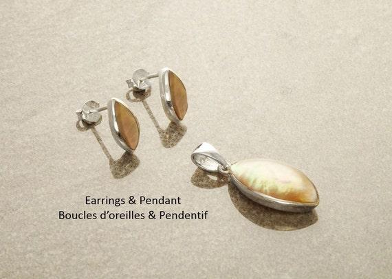 GENUINE Brown Paua Shell Oval Earrings and Pendant SET, Sterling Silver, Pearl Iridescent Rainbow Highlights, Geometric Minimalist Modern