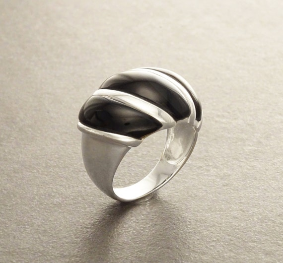 Onyx Dome Ring - Sterling Silver - Black Onyx Ring - Wave Ring - Sterling Silver Ring - Squiggle Ring - Wide Ring - Statement Ring.