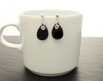 Black Onyx Earrings - Sterling Silver Earrings, Black  Earrings, Tearsdrop, Bright Black  Earrings, Dainty Earrings, Black  Jewelry. Fashion