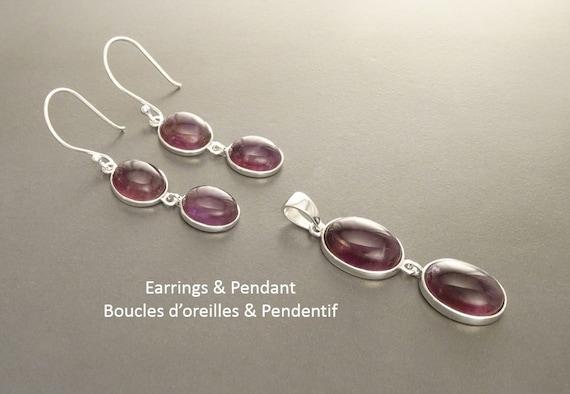 Amethyst Earrings Set, Sterling Silver Purple Amethyst Pendant Set Dark Natural Amethyst Healing Gemstone Earrings Crystal Amethyst Stone