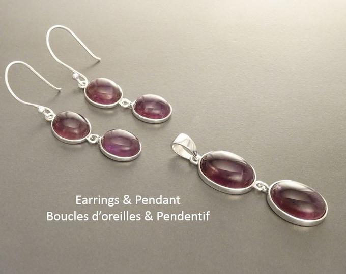 Amethyst Earrings Set, Sterling Silver, Purple Amethyst Stone, Violet Natural Amethyst Pendant, Modern Dangle Drop Stones Earrings, Hooks