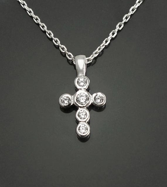 Sterling Cross Necklace, Sterling Silver, Lab Diamonds Simulant, Christian Cross Jewelry, Religious Sign Charm, Unique Crucifix Pendantt