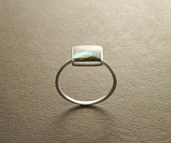 Square ring, sterling silver set with genuine paua shell in a modern geometric design