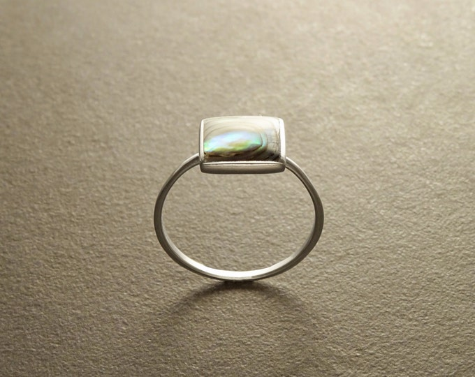 Abalone ring, sterling silver set with genuine Paua shell in a modern geometric Square stone design, natural blue green reflections colors