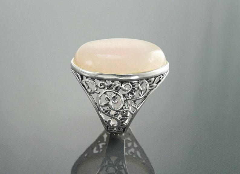 Rose Quartz Ring Sterling Silver NATURAL Oval Pink Quartz image 0