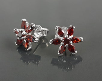 Red Flower Earrings, Sterling Silver Dainty Stud Earrings, Garnet Cubic Zircons, Tiny Floral jewelry, Gift for her