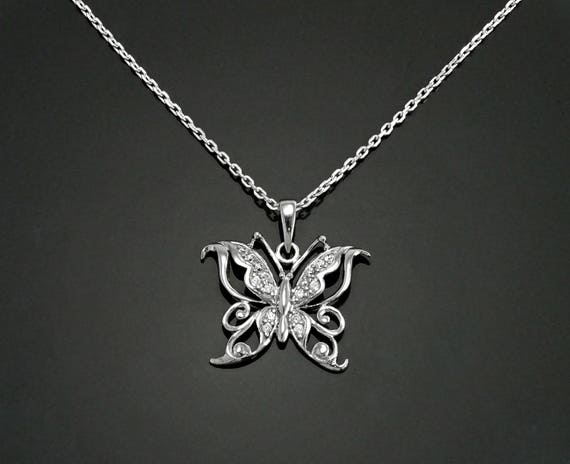 Butterfly Necklace, Sterling Silver, Lab Diamonds Simulant, Insect Nature Charm, Enchanting Jewelry, Valentine's Day Gift, Girl, Women