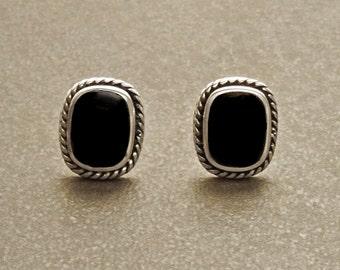Onyx Stud Earrings - Sterling Silver Earrings - Onyx Jewelry - Oxidized Earrings - Square shape Earrings -  Vintage Earrings