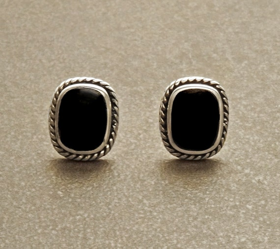 Onyx Stud Earrings - Sterling Silver Earrings - Onyx Jewelry - Oxidized Earrings - Square shape Earrings -  Vintage Earrings
