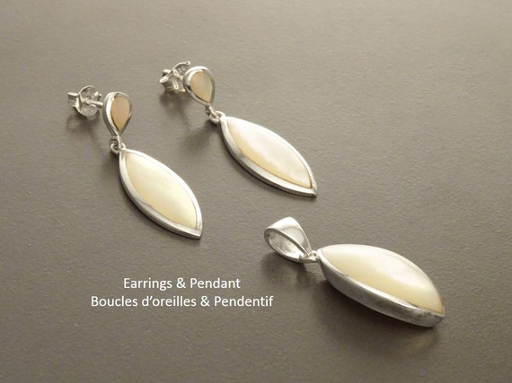 White MOP Set, Earrings and Pendant Set, Sterling Silver Jewelry, 925, Almond Shape, Bright MOP, Original, Dainty, Jewelry, Mother of Pearl.