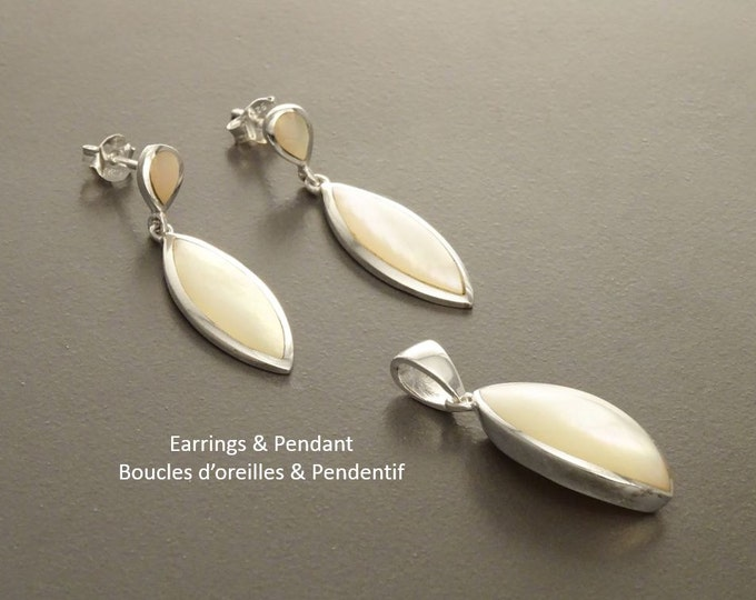 White Stone Earrings, Sterling Silver, Bright Mother of Pearl Shell, Dangle Earrings Pendant Set, Modern Oval Stone Jewelry,
