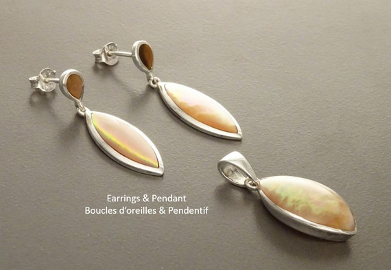 GENUINE Brown Paua Shell Earrings and Pendant Minimalist SET, Sterling Silver,  Pearl Iridescent Rainbow Highlights, Geometric Oval Jewelry