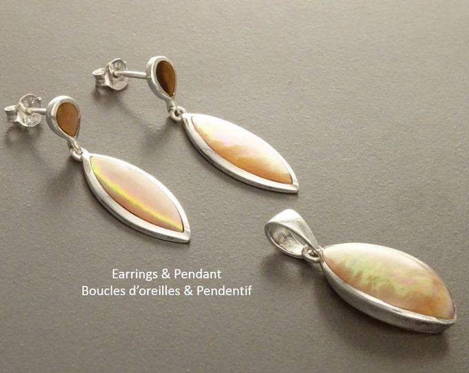 Brown Oval Earrings, Sterling Silver, GENUINE Gold Paua Shell, Geometric Oval Stone Jewelry, Modern Dangle Earrings Set