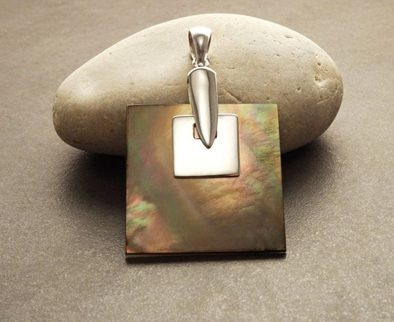 Statement GENUINE Gray Paua Shell Square Pendant, Sterling Silver, Designer Pendant, Grey Pearl with Rainbow Highlights, Geometric Jewelry