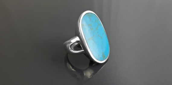 Modern Blue Turquoise Ring, Sterling Silver, Turquoise Flat Stone, Original Rectangle Oval Form Ring, Unique Designer Setting Shape Jewelry