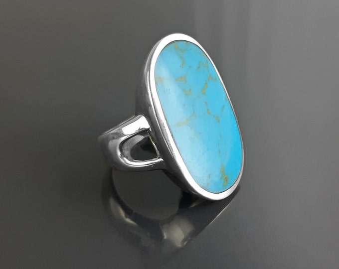 Blue Turquoise Ring, Sterling Silver, Turquoise Flat Stone, Original Rectangle Oval Form Ring, Modern Designer Setting Shape Jewelry
