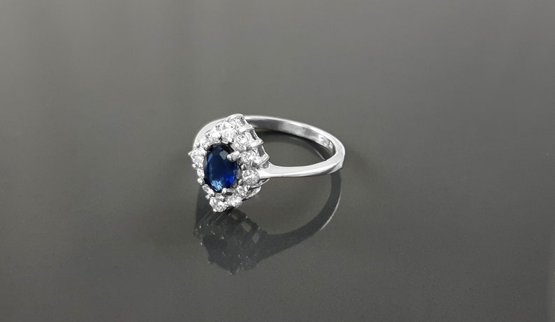 Blue Marquise Ring Sterling Silver Lab Diamonds simulant image 0