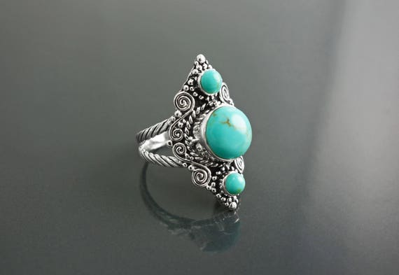 Triple Turquoise Ring, Sterling Silver, Turquoise Stone Jewelry, Ethnic Jewelry, Boho Chic Jewelry, Unique Statement Antique Rings for her