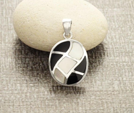 Oval, Mosaic, Pendant - Sterling Silver, Pendant, White, Mother of Pearl, Wave, Pattern, Inlay, Dangle Pendant, Black Onyx, Women, Xmas