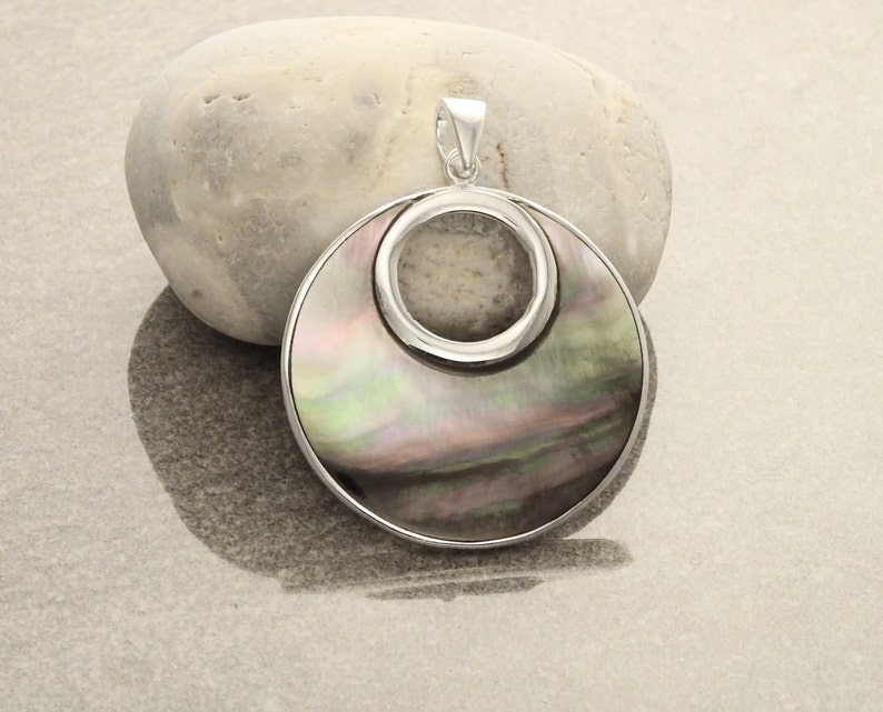 Grey Round Necklace Sterling Silver GENUINE Gray Paua Shell image 0
