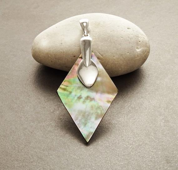 GENUINE Brown Paua Shell Pendant, Sterling Silver, Diamond Shape, Brown Pearl MOP Rainbow Highlights, Statement Geometric Designer Jewelry