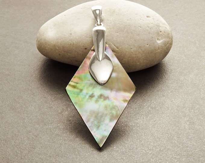 Gray Paua Shell Pendant, Sterling Silver, Diamond Shape, Gray Pearl MOP Rainbow Highlights, Statement Geometric Designer Jewelry