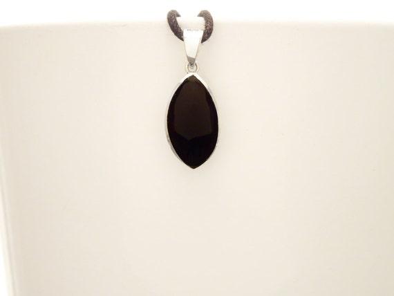 Onyx Oval Pendant - 925 Sterling Silver Pendant, Almond Shape, Black Onyx Pendant, Minimalist Pendant, Gemstone Modern Pendant, Black Stone